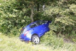 Auto met kinderen belandt in berm en raakt boom in Oudkarspel
